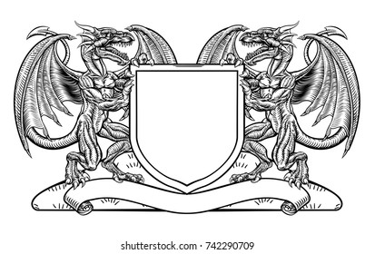 A medieval heraldic coat of arms emblem featuring rampant dragon animal supporters flanking a shield charge in a vintage woodblock style.