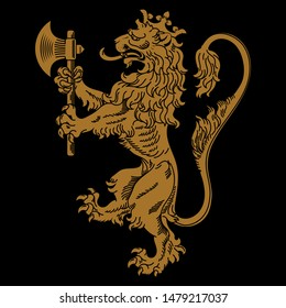 A medieval heraldic coat of arms, heraldic lion, heraldic lion silhouette, crowned lion holding an axe in its front paws, isolated on black, vector illustration