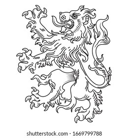 A medieval heraldic coat of arms, heraldic lion, heraldic lion silhouette, isolated on white, vector illustration