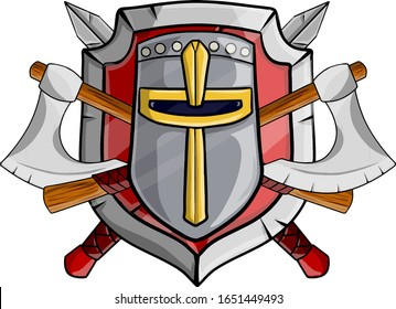 Medieval heraldic coat of arms. Old weapons and armor of soldier. Cartoon vector illustration. Knight's helmets, red shield, sword, axe and ribbon