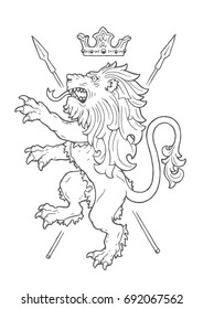 Medieval heraldic standing lion with a crown and spears. Vector hand drawn illustration of a fighting lion.