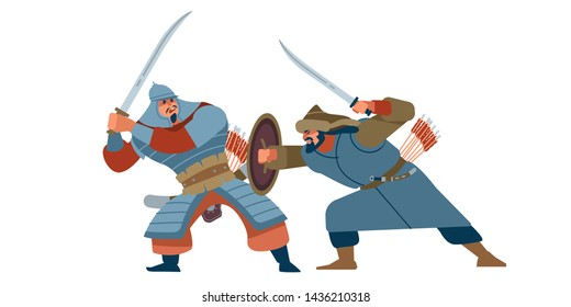 Medieval historical battle. An uprising against the Tatars. Battle of the nomads. Vector illustration on white isolated background. Flat cartoon style.