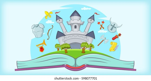 Medieval horizontal banner concept tale. Cartoon illustration of medieval vector horizontal banner for web