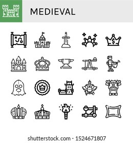 medieval icon set. Collection of Fortress, Treasure map, Castle, Sword, Crown, Anvil, Catapult, Medieval, Executioner, Belem tower, Coat of arms, Armor, Torch, Rune icons