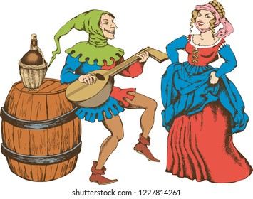 Medieval juggler and pretty girl. Engraved style. Vector illustration