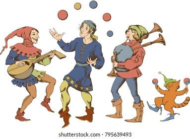 Medieval juggler. Vector illustration. Egraved style