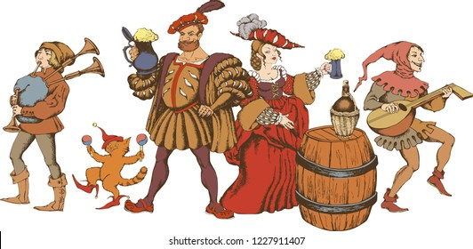 Medieval jugglers, cavalier and pretty girl with beer mugs. Engraved style. Vector illustration