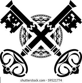 medieval keys. first variant. vector illustration
