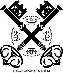 medieval keys. second variant. vector illustration