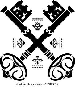 medieval keys. third variant. vector illustration