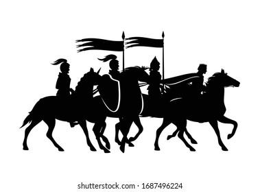 mittelalterliche König- und Krieger, die Pferde mit fliegenden Bannern reiten - Vektorillustration-Satz von schwarzen Silhouetten (alle Zahlen sind separat editierbar)