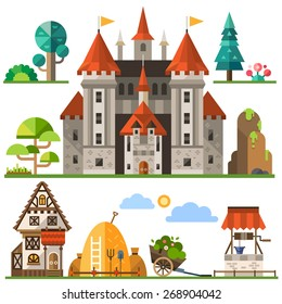 Medieval kingdom element: stone castle, wooden house, trees, rocks, well, haystacks.  Vector flat  illustrations