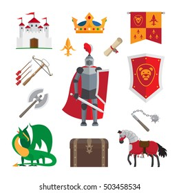 Medieval kingdom icons with knight and castle, dragon and crown isolated on white background. Vector illustration