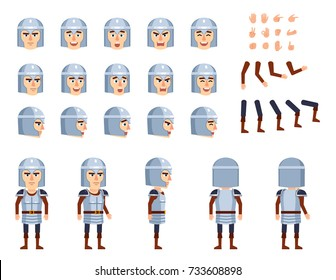 Medieval knight in armor creation set. Various gestures, emotions, diverse poses, views. Create your own pose, animation. Flat style vector illustration