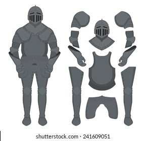 Medieval knight armor set. Helmet, shoulders, gloves, breastplate, leggings. Color clip art vector illustration isolated on white