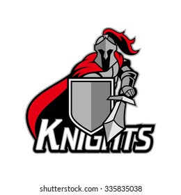Medieval knight with armor and shield, red and silver, bold and strong logo