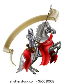 A medieval knight in armour on the back of a rearing white horse holding a spear flag