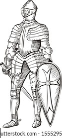 Medieval knight. Black and white vector illustration.