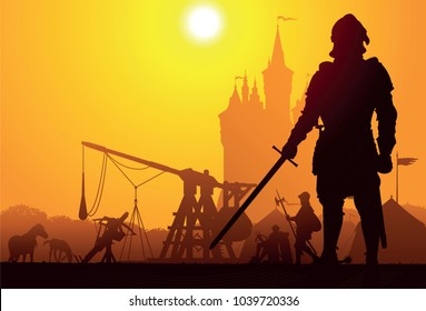 Medieval knight with the camp and castle on background