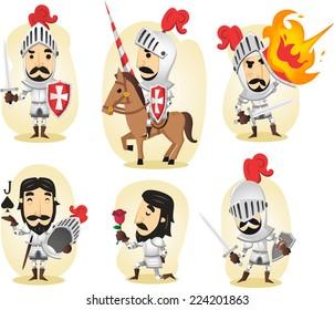Medieval knight cartoon illustrations