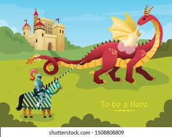 Medieval knight hero duels huge fire breathing dragon outside royal castle flat  fairy tale scene vector illustration