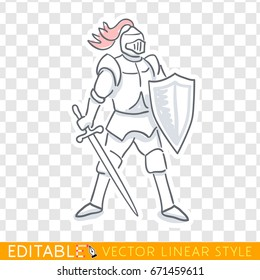 Medieval knight icon. Editable line sketch. Stock vector. Historical illustration