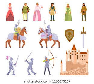 Medieval knight icon set. Vector illustration of medieval cartoon characters king, queen, peasants, knights with spears, archer, castle, sword, shield isolated on white background. Flat style design.