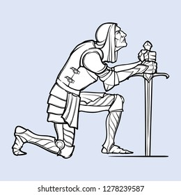 Medieval knight kneeling down and offering his service. Medieval gothic style concept art. Design element. Black a nd white drawing isolated on grey background. EPS10 vector illustration