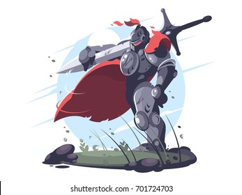 Medieval knight in metal armor and helmet with sword on battlefield. Vector illustration