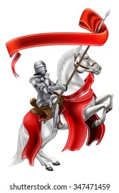 A medieval knight on the back of a rearing white horse holding a banner