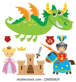 Medieval knight, princess and dragon vector illustration