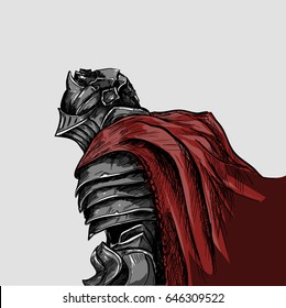 Medieval knight in a red cloak and heavy armor, comic style, close-up