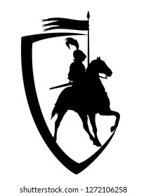 medieval knight riding horse with banner spear - black and white heraldic shield vector design