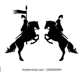 medieval knight riding horse holding banner spear - ancient horseback hero black vector silhouette set