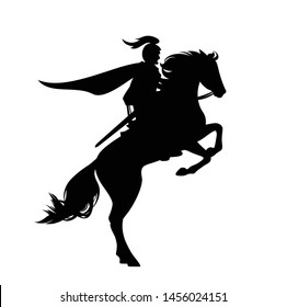 mittelalterlicher Ritter auf einem Pferd - Reitsoldat mit schwarzem und fliegendem Mantel und schwarzer Vektorillustration