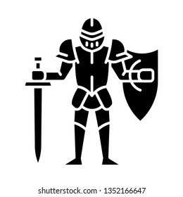 Medieval knight with shield and sword glyph icon.  Warrior with full suit of armor. Chivalry. Ancient plate armour. Lord. Silhouette symbol. Negative space. Vector isolated illustration
