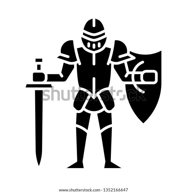 Medieval Knight Shield Sword Glyph Icon Stock Vector