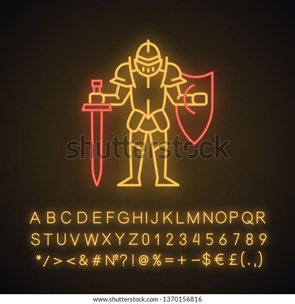 Medieval Knight Shield Sword Neon Light Stock Vector