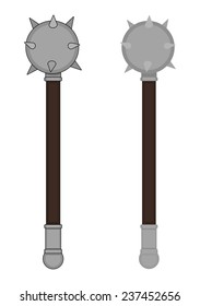 Medieval knight steel warrior wood handle spike mace. Color clip art vector illustration isolated on white. Contour, no contour