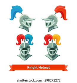 Medieval knights helmet with plume. Font and side view. Flat vector illustration isolated on white background.