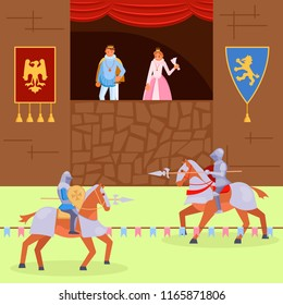 Medieval knights joust scene. Vector illustration of royal family looking at fight between mounted knights wearing armor and using lances. Middle ages knights tournament flat style design.