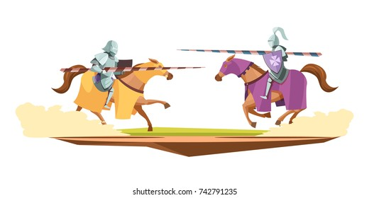 Medieval knits tournament cartoon composition with 2 horsemen in suits of armor in jousting contest vector illustration