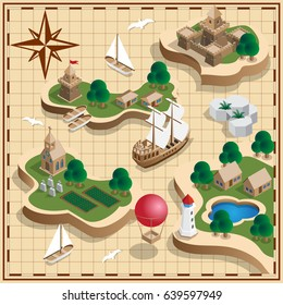 The medieval landscape of the islands. Antique map. Isometric. Vector illustration.