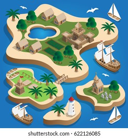 The medieval landscape of the islands. Isometric. Vector illustration.