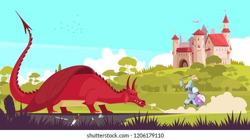 Medieval legendary knight warrior fighting fierce dragon near castle to save princess fair tale cartoon vector illustration