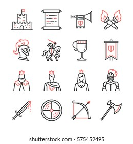 Medieval line icon set. Included the icons as knight, king, princess, castle, weapon, kingdom and more.
