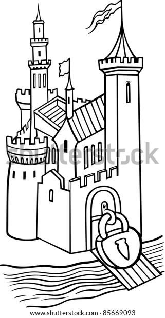 Medieval locked castle