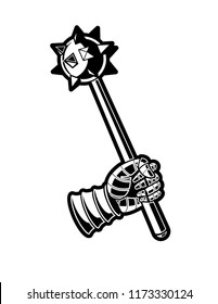 Medieval Mace Black and White Vector Graphic