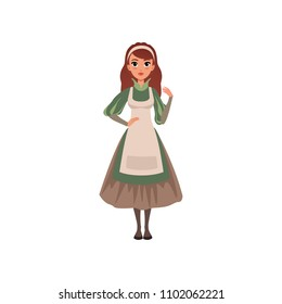 Medieval maid character in traditional dress vector Illustration on a white background