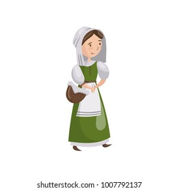 Medieval maid in traditional dress cartoon vector Illustration